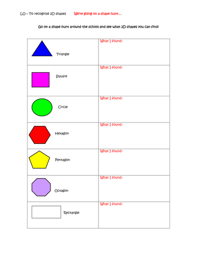 2d Shape Hunt By Bect Teaching Resources Tes