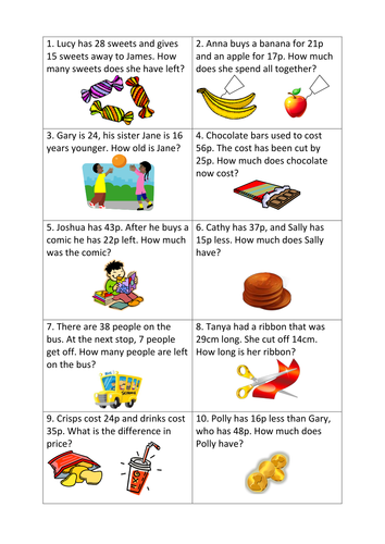 Maths word problems differentiated worksheets (y3)