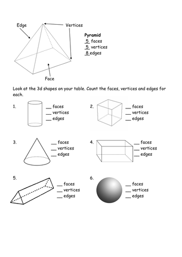 Worksheets Faces Edges Vertices Worksheet count the faces edges vertices 3d shape by l e1984 teaching resources tes
