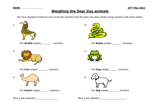 Dear Zoo Weighing Animals By Andy Gayford Teaching Resources