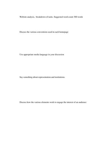 Website analysis for film studies