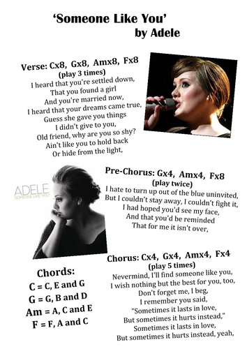 Adele - \'Someone Like You\' Worksheet by pete216state - Teaching ...