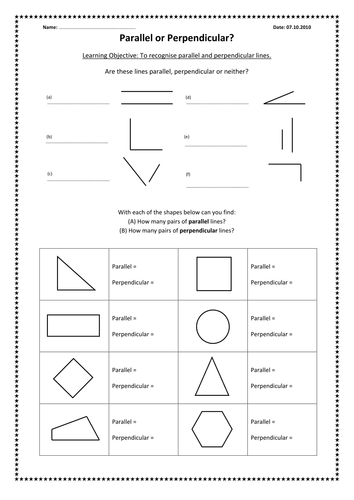 Worksheets Parallel And Perpendicular Lines Worksheet Answer Key parallel and perpendicular lines by kimberley lloyd teaching resources tes