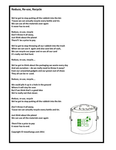 Reduce Reuse Recycle By Songlady Teaching Resources Tes