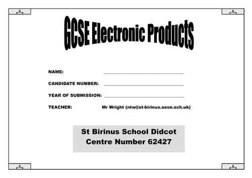 GCSE Electronic Products Controlled Assessment