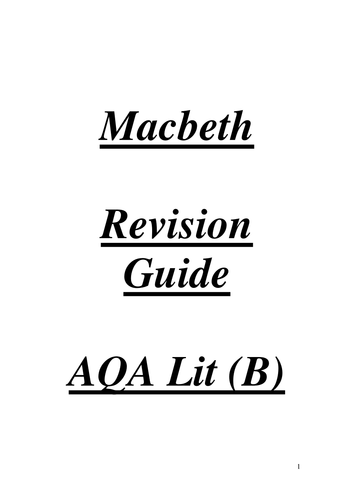 Macbeth: Revision Materials and Resources