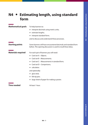 Gsce Maths Estimating Length Using Standard Form By