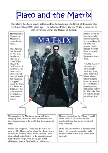 """the matrix vs plato s cave allegory Plato's allegory of the cave """"a course in miracles"""" has a much darker, more complex, and psychologically sophisticated version of this allegory."""