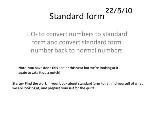 Gcse Maths Standard Form Starter Quiz By Bcooper87 Teaching