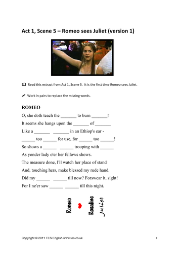 romeo and juliet worksheets for act 1 scene 5 by tesenglish teaching resources tes. Black Bedroom Furniture Sets. Home Design Ideas