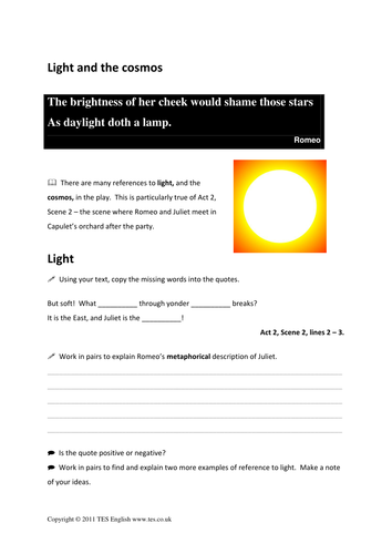 Romeo And Juliet Images And Imagery Worksheet By