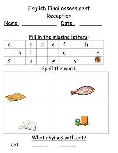 Assessment for Reception classes