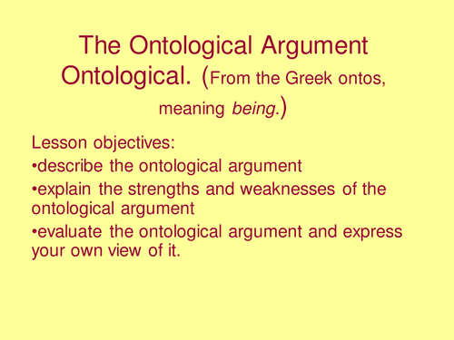 outline descartes ontological argument Rene descartes, 1596 - 1650, is also credited with formulating a version of the ontological argument one possible presentation of the cartesian argument is as follows: 1.