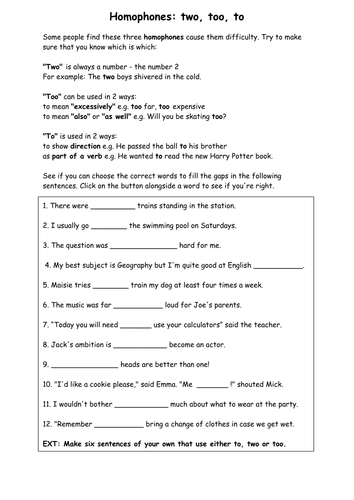Homophones worksheet - Where, were, wear and are and our ...