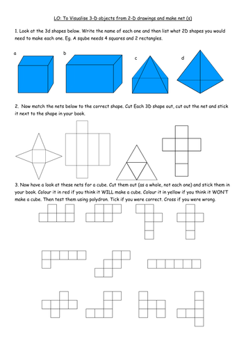 Y4 B3 worksheet - visualising 3D shapes/make nets