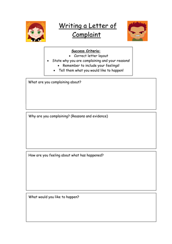 Letter of complaint planning frame by kez1985 teaching resources tes spiritdancerdesigns Choice Image