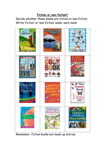 Fiction or Non-Fiction? Worksheet (used with Y3) by L_E1984 ...