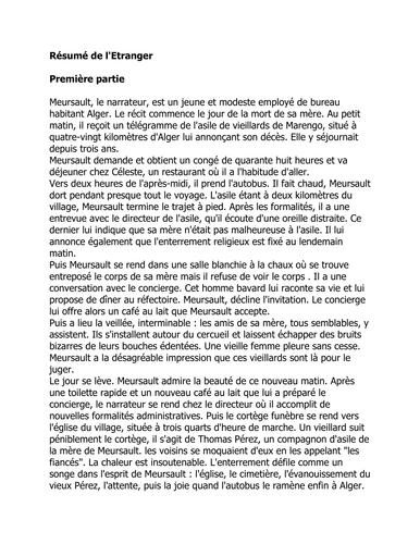 L\'Etranger - résumé by natjohnston - Teaching Resources - Tes