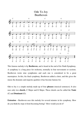 Ode To Joy with Chords by lornylou99 - Teaching Resources - Tes
