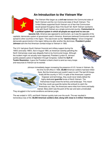 Series of 3 lessons on Vietnam War