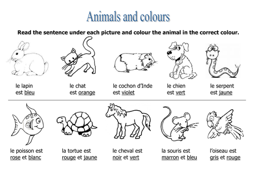 animals colours worksheet by rosaespanola teaching resources. Black Bedroom Furniture Sets. Home Design Ideas