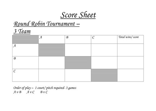 Round robin tournament sheets by acropley teaching for 6 team draw template