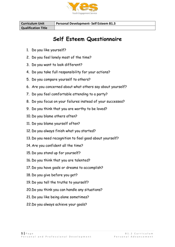 Self Esteem By Yahna Teaching Resources Tes