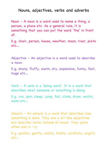 Nouns Adjectives Verbs And Adverbs Definitions By Juliannebritton