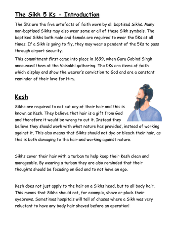Sikhism and the 5Ks by fm1981 - Teaching Resources - TES