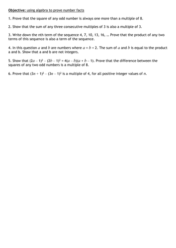Algebraic Proof Maths Activity by mcs123 - Teaching Resources - Tes