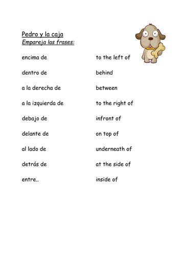 'Pedro y la caja' interactive story - prepositions