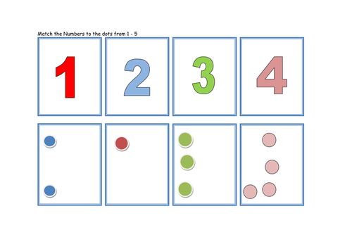 Match The Numbers And Dots From 1 To 5 By Traffordteach