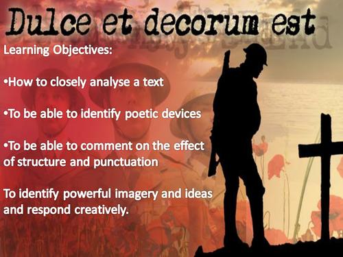 for the fallen and dulce et decorum est