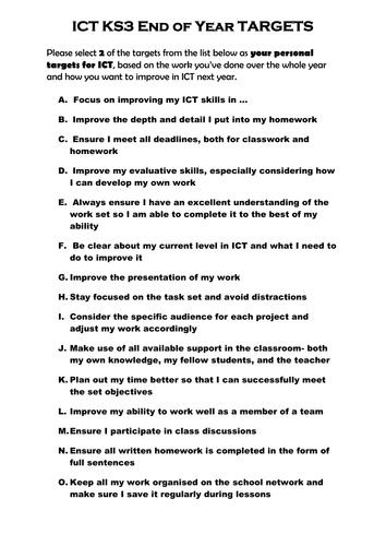 KS3 ICT Targets Sheet