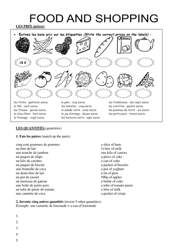 Food & quantities worksheet by rosaespanola | Teaching Resources