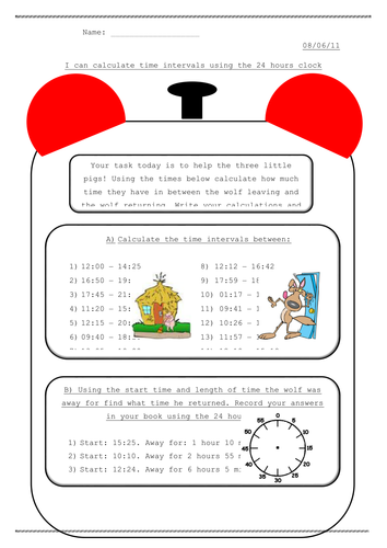 Time intervals by Hilly577 - Teaching Resources - TES