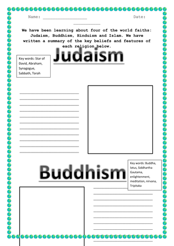 lesson on world faiths summaries worksheets by hilly577 teaching resources tes. Black Bedroom Furniture Sets. Home Design Ideas