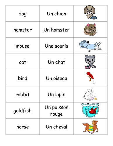Animal matching game- French
