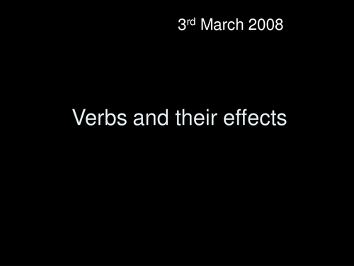 The Effect of Verbs: Analysis Powerpoint Lesson