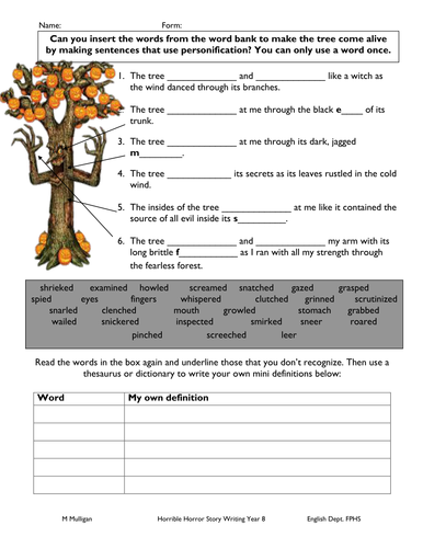 Personification worksheet for weak pupil by diamond_raindrops ...