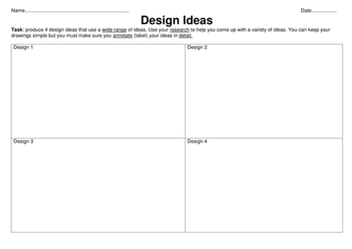 Design idea worksheet