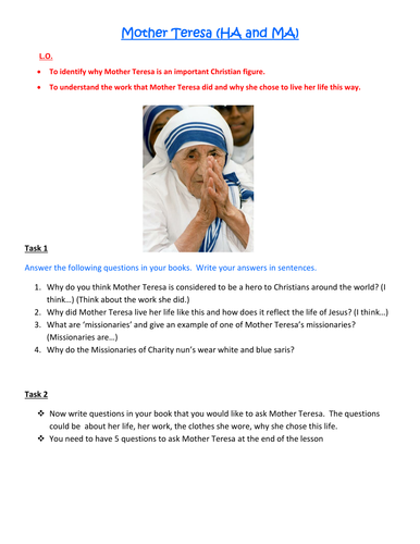 The Life of Mother Teresa by rbagley - Teaching Resources - Tes