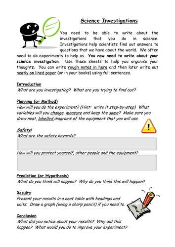 Science Investigation Sheet by oldplumtree - Teaching Resources - TES