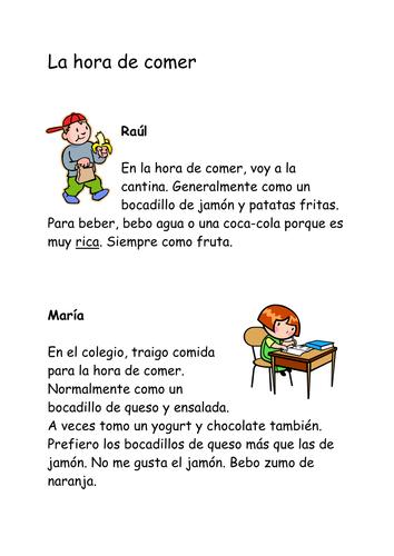 La hora de comer reading, comprehension, grammar by slaughtj ...