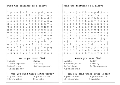 The Witches Wordsearch on diary features