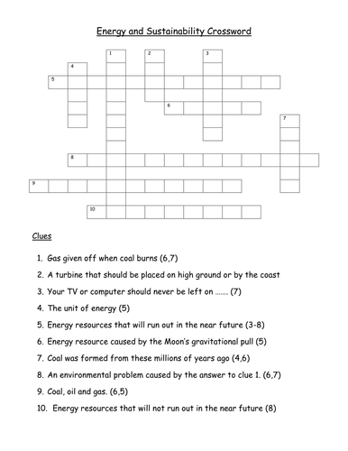 Energy And Sustainability Crossword By Gregodowd