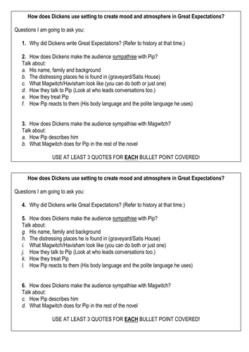 Essay plan for pupils on Great Expectations