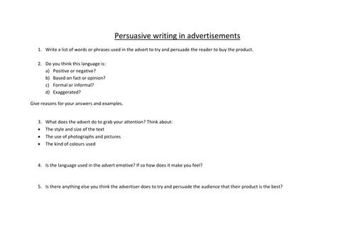 Persuasive writing in advertisements