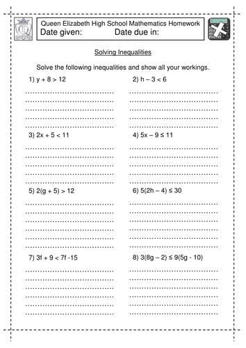 KS3 Maths: Solving linear Inequalities worksheets