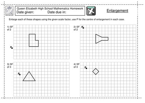 KS3 Enlargement by a scale factor worksheet by jlcaseyuk ...